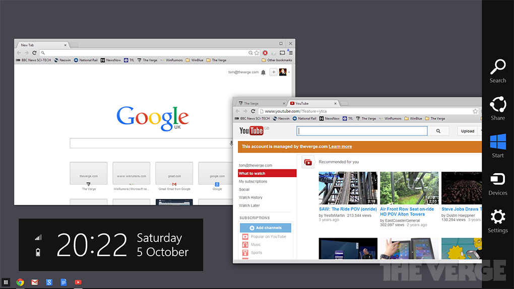 Chrome OS Windows 8