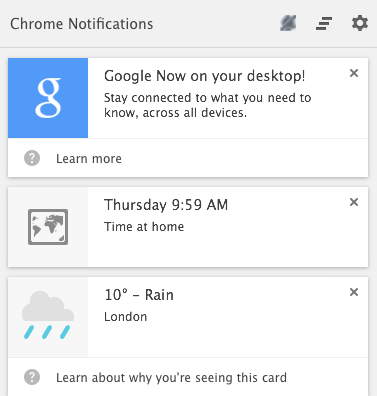 Google Now Chrome Mac OS X