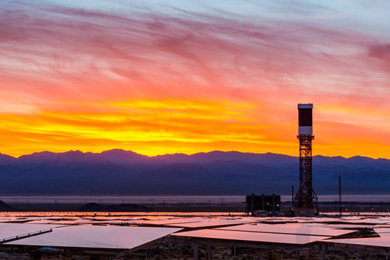 IVANPAH, CALIFORNIA, APRIL 04 2013: Tower 2 and its heliostats a